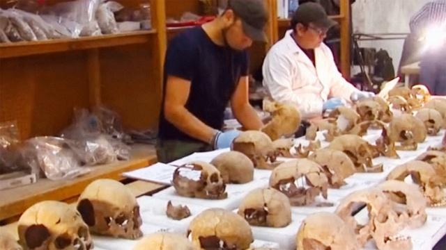 墨西哥发现人骨塔,头骨堆积如山