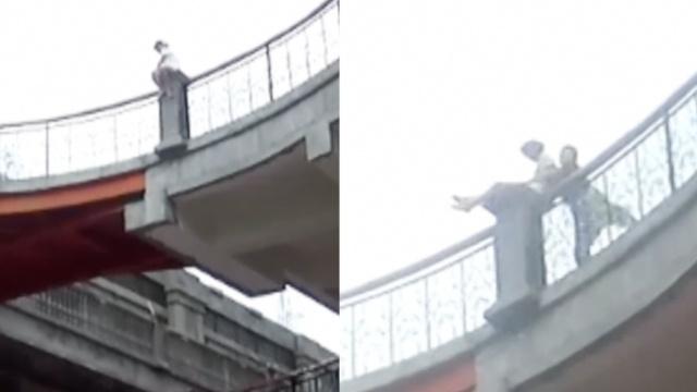 惊险!女子爬3楼轻生,民警一把拉回