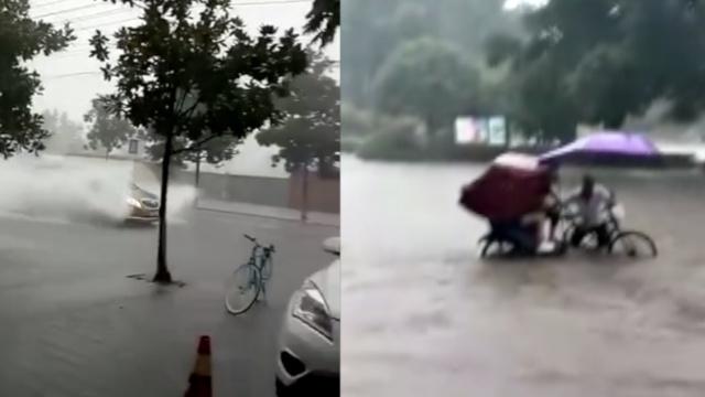 四川崇州看海:街道成河行车如划船
