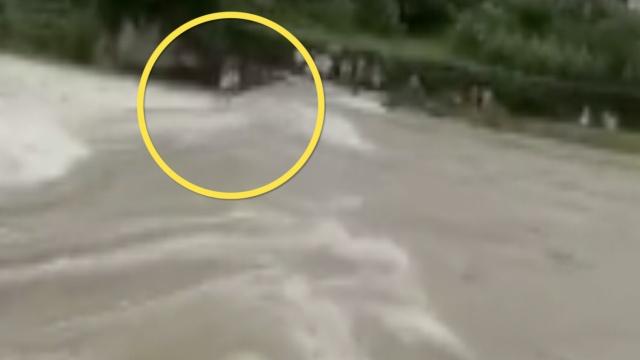 村民站断桥遭水冲走,乡邻着急大喊