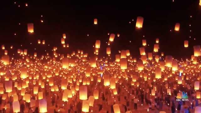 美国灯笼节:数千灯笼升起照亮夜空