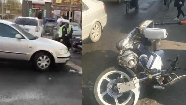 猖狂!小车撞人逃逸,交警追逃被撞伤