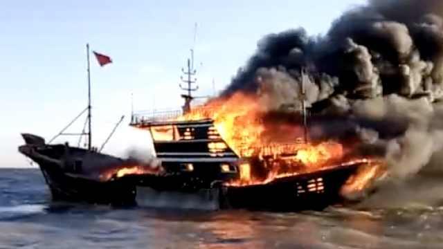 唐山一渔船海上起火沉没,1人失联