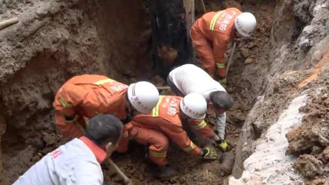 工地施工突然塌方,2工人被埋深坑
