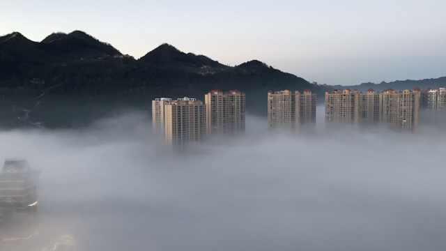 贵州毕节现平流雾奇观,如海市蜃楼