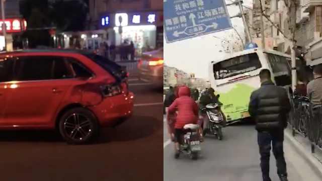 吓!公交与小车碰撞,失控冲上人行道