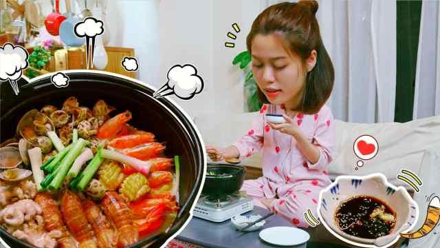 奶白色鲫鱼汤海鲜锅,鲜美极了!