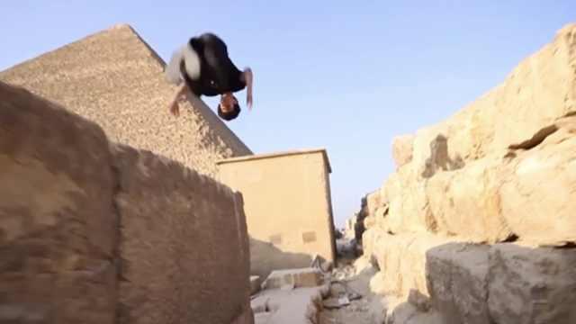 跑酷青年在埃及:金字塔最好的舞台