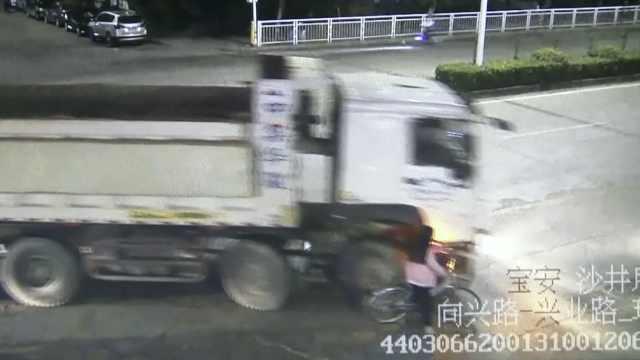 女子骑车进货车盲区,被卷车底身亡