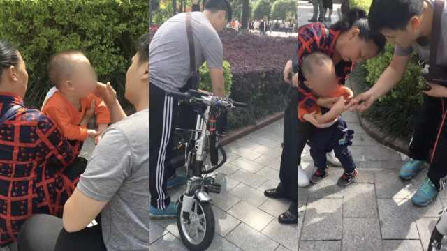 快递哥步行街上骑车,撞伤2岁幼童