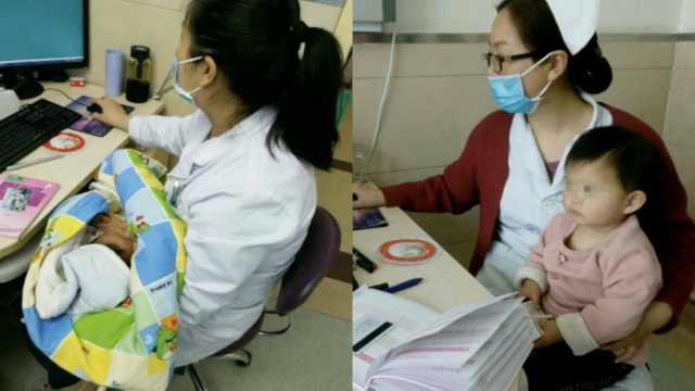 医护人员客串妈妈,帮孕检女子带娃