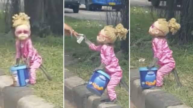 猴子扮小女孩路边乞讨,引巨大争议