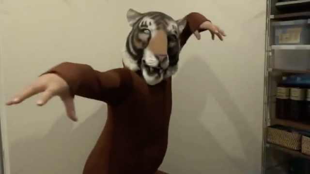主人带上老虎头套,猫咪被吓到变形