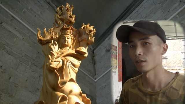 两兄弟传承雕刻工艺,合造20万木雕