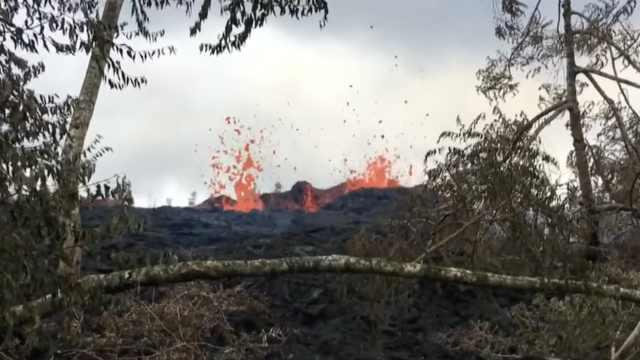 夏威夷火山现新裂缝,岩浆持续喷发
