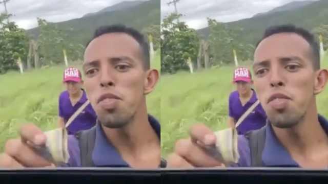 委内瑞拉人徒步逃难,司机停下给钱