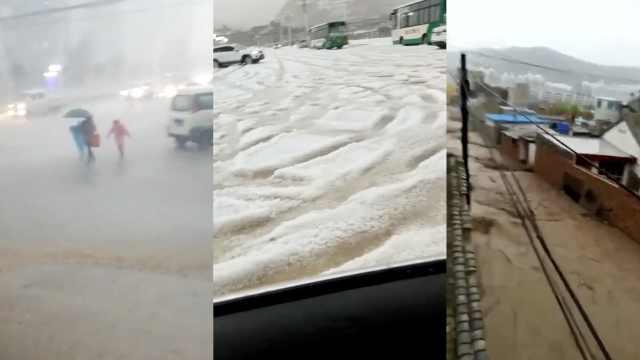 暴雨冰雹袭甘肃,山洪爆发喷涌而下