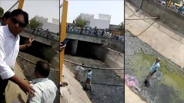 印度市民乱扔垃圾,被要求下河捡