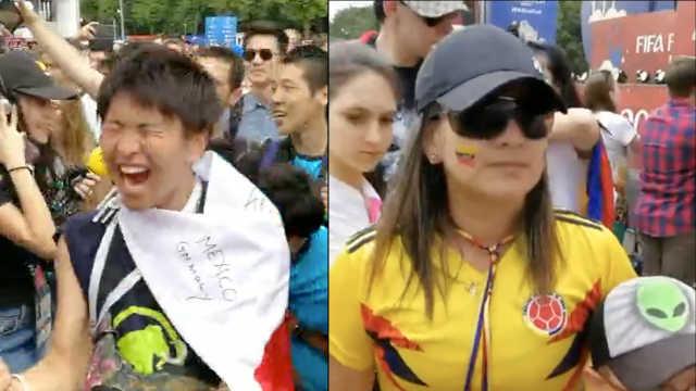 日本球迷大庆祝,哥小球迷黯然神伤