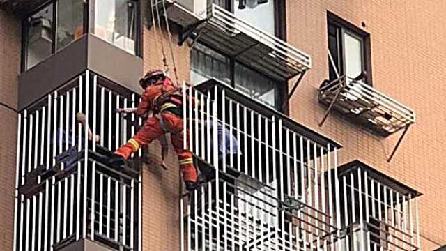 女童坠落6楼防盗窗外,幸遇神兵天降