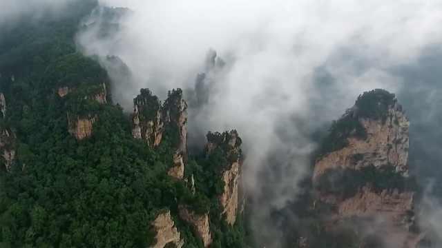 张家界云海景观壮阔,游客:人间仙境