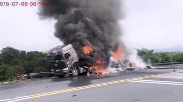 货车高速起火,浓烟冲天伴随爆炸声