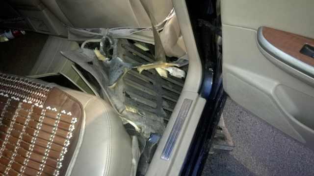 井盖弹起击穿车底,乘客脚背被打肿