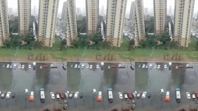 暴雨积水淹多车,水黑臭市民不敢走