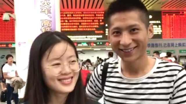 她冒着台风赶到上海:来给男友道歉