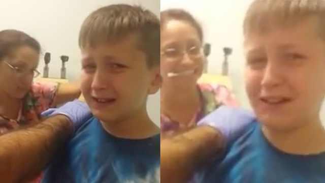 男孩害怕打针:发现不痛后一脸蒙圈