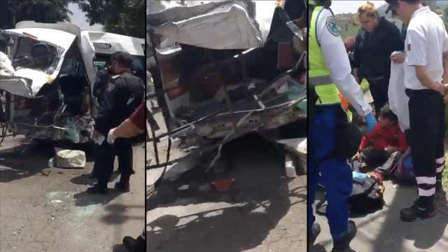 客车被高速行驶货车撞,乘客遭甩出