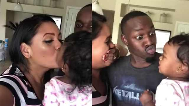黑人宝宝只亲妈妈,爸爸表示很受伤