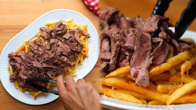 学做精致西餐:汤汁牛排配芝士薯条