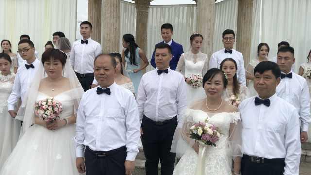 学校办集体婚礼,6旬教师成最美新娘