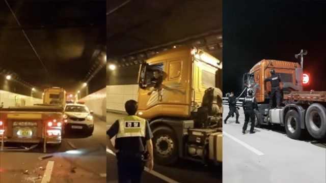 韩醉酒司机大桥撞警车,想跳桥自杀