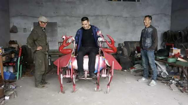 5旬农民造机器大螃蟹:能载人能健身