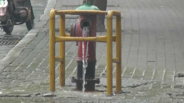 消防栓损坏水流一路,市民:真心疼