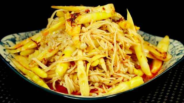 自制清爽开胃菜:红油笋丝金针菇