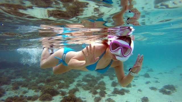 她全球各地潜水,每天换不同比基尼