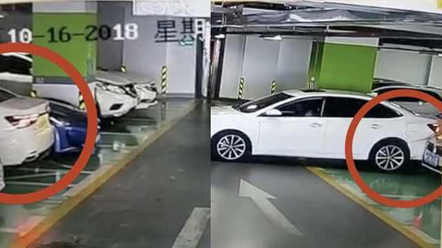豪车集体遭殃!女司机倒车连撞4车
