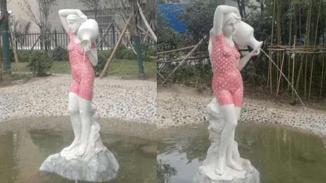 塑像穿红泳衣引热议,大妈:穿上好看