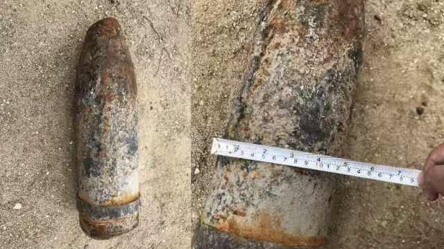 海边引爆!28kg高危榴弹炮成功销毁