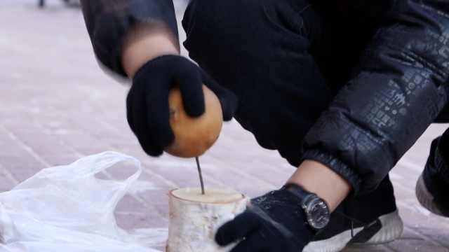 东北有多冷!梨能钉钢钉,鞋带冻成棍