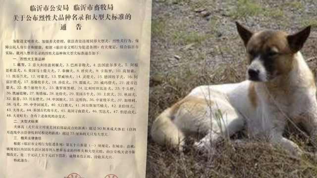山东临沂禁养48种犬,含中华田园犬