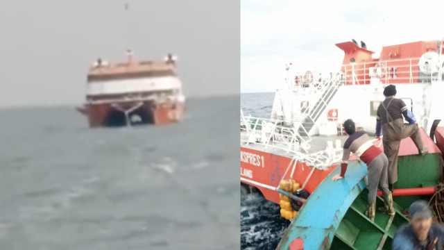 直击拖回东海无人游轮:1小时4海里