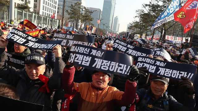 韩10万出租司机抗议