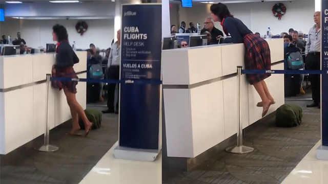 耍酒疯?女子冲机场人员骂:强奸犯