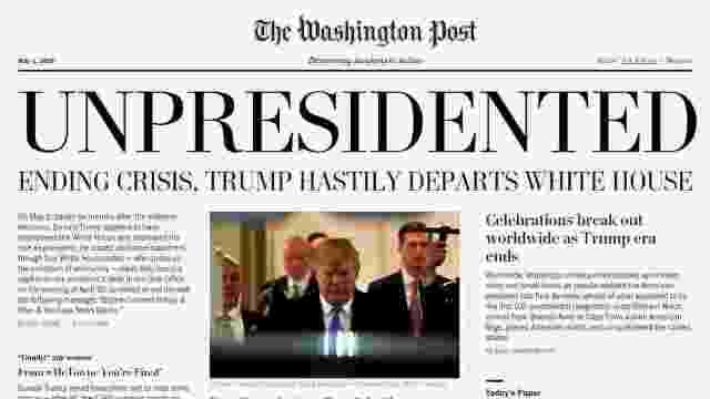 高仿《华盛顿邮报》头版:川普下台
