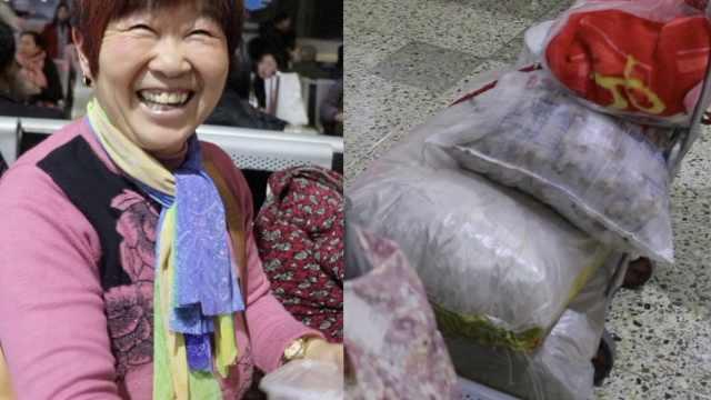 老夫妻带40斤粉条陪儿过年:够吃1年