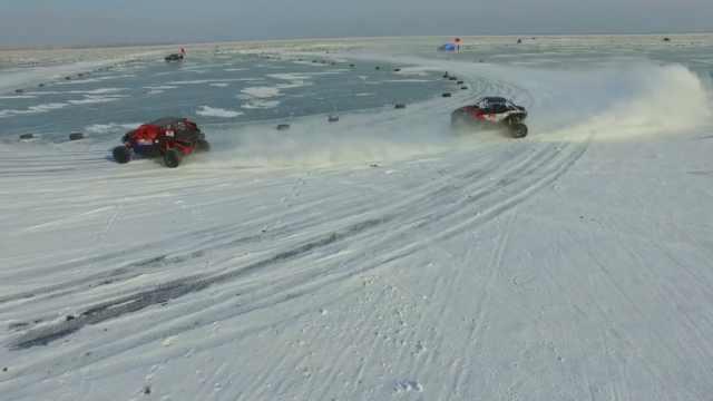 爽!湖面赛车,冰上漂移超刺激